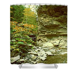 Mountain River With A Stone Wall And A Small Bridge Shower Curtain