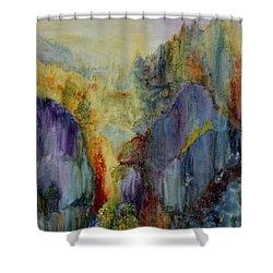 Mountain Scene Shower Curtain by Karen Fleschler