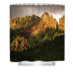 Mountain Storm Light Shower Curtain by John De Bord