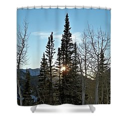Mountain Sunset Shower Curtain by Michael Cuozzo