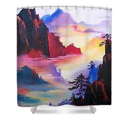 Mountain Top Sunrise Shower Curtain by Sharon Duguay