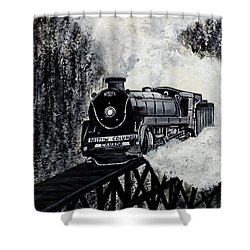 Mountain Train Shower Curtain