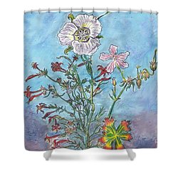 Shower Curtain featuring the painting Mountain Wildflowers II by Dawn Senior-Trask