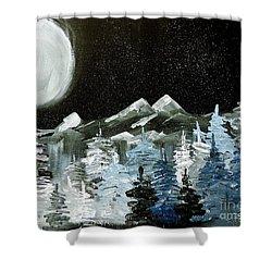 Mountain Winter Night Shower Curtain