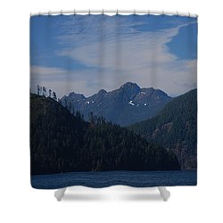 Mountain With Summer Snow Shower Curtain