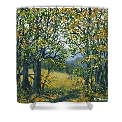 Shower Curtain featuring the painting Mountain Woods by Kathleen McDermott