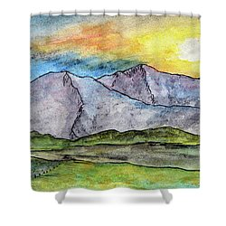 Mountainous Landscape Shower Curtain by R Kyllo