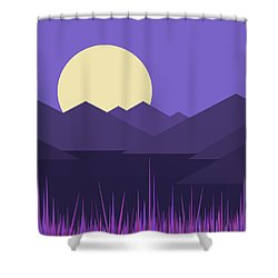 Shower Curtain featuring the digital art Mountains And A Lavender Sky by Val Arie