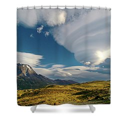 Mountains And Lenticular Cloud In Patagonia Shower Curtain