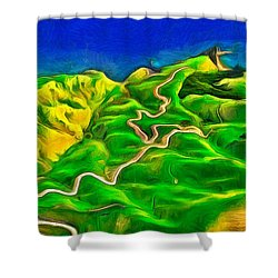 Mountains And Ocean - Pa Shower Curtain