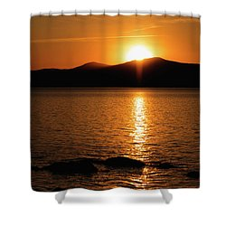 Mountains And River At Sunset Shower Curtain
