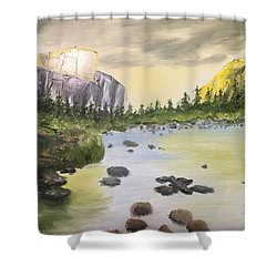Mountains And Stream Shower Curtain