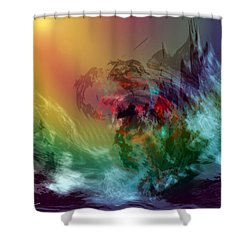 Mountains Crumble To The Sea Shower Curtain by Linda Sannuti