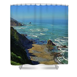 Mountains Meet The Sea Shower Curtain