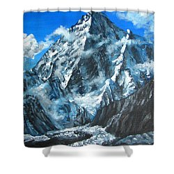Mountains View Landscape Acrylic Painting Shower Curtain by Natalja Picugina
