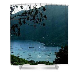 Mountainside Coral Bay Shower Curtain by Robert Nickologianis