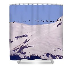 Mountaintop Geese II Shower Curtain