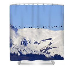 Mountaintop Geese Shower Curtain