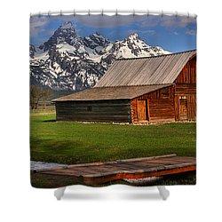 Mouoton Barn Footbridge Panorama Shower Curtain by Adam Jewell