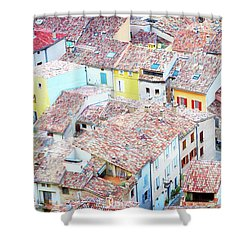 Moustiers Sainte Marie Roofs Shower Curtain by Anastasy Yarmolovich
