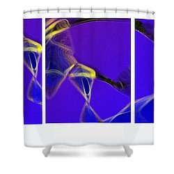 Movement In Blue Shower Curtain by Steve Karol