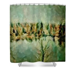 Movie A Chance In The World Placid Lake Frozen In The Winter Fall Ice Bitter Cold Uninviting Cool Pa Shower Curtain by MendyZ
