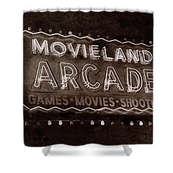 Shower Curtain featuring the photograph Movieland Arcade - Gritty by Stephen Stookey