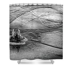 Moving Ice Winter 2017 Bw Shower Curtain by Mary Bedy