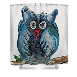Mr. Blue Owl Shower Curtain