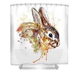 Shower Curtain featuring the mixed media Mr. Bunny by Marian Voicu