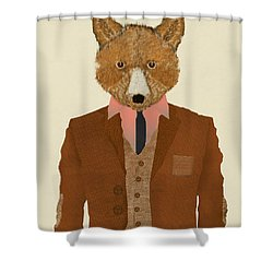 Shower Curtain featuring the painting Mr Fox by Bri B