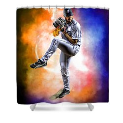 Mr. Justin Verlander Shower Curtain by Nicholas  Grunas