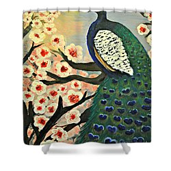 Mr. Peacock Cherry Blossom Shower Curtain