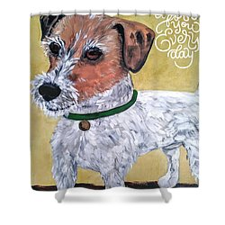 Shower Curtain featuring the painting Mr. R. Terrier by Reina Resto