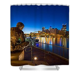 Shower Curtain featuring the photograph Mr Rogers Statue 3 by Emmanuel Panagiotakis