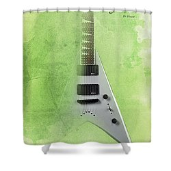 Dr House Inspirational Quote And Electric Guitar Green Vintage Poster For Musicians And Trekkers Shower Curtain by Pablo Franchi