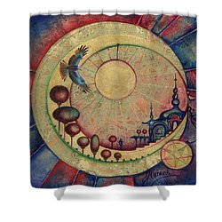 Shower Curtain featuring the painting Mr Twardowski On The Moon by Anna Ewa Miarczynska