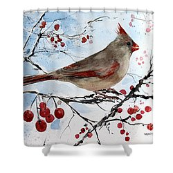 Mrs Red Bird The Visit Shower Curtain