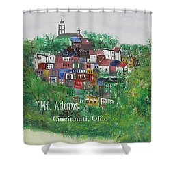 Mt Adams Cincinnati Ohio With Title Shower Curtain
