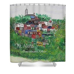 Mt Adams Cincinnati Ohio With Title Shower Curtain by Diane Pape