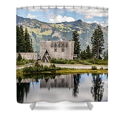 Shower Curtain featuring the photograph Mt Baker Lodge In Picture Lake 1 by Rob Green