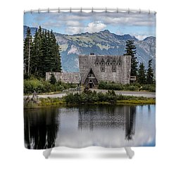 Shower Curtain featuring the photograph Mt Baker Lodge Reflecting In Picture Lake 3 by Rob Green