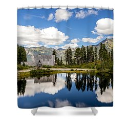 Shower Curtain featuring the photograph Mt Baker Lodge Reflection In Picture Lake 2 by Rob Green