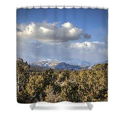 Mt Charleston Snow Storm Shower Curtain