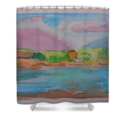 Shower Curtain featuring the painting Mt Desert From Marlboro Beach by Francine Frank