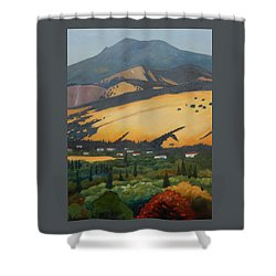 Shower Curtain featuring the painting Mt. Diablo Above by Gary Coleman