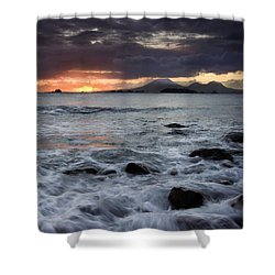 Mt. Edgecumbe Sunset Shower Curtain by Mike  Dawson