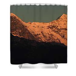 Mt. Eiger And Mt. Moench At Sunset Shower Curtain