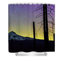 Shower Curtain featuring the photograph Mt. Jefferson Bathed In Auroral Light by Cat Connor