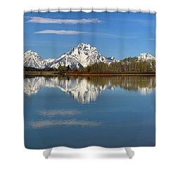 Mt. Moran Reflections At Oxbow Shower Curtain by Adam Jewell